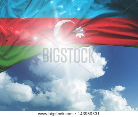 Azerbaijan flag on a beautiful day