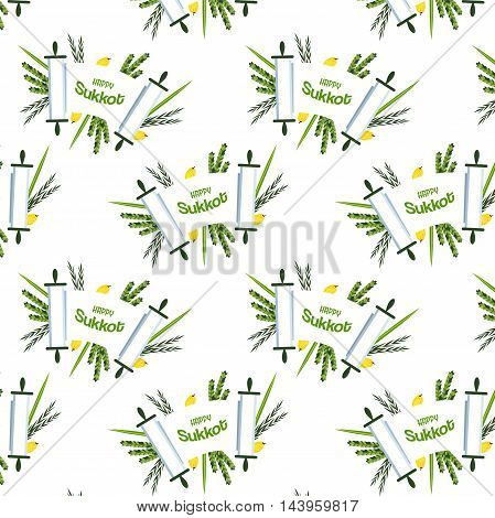 Jewish holiday Sukkot. torah with Lulav, , Etrog, Arava and Hadas. Four species symbols date palm, citron, willow, myrtle illustration