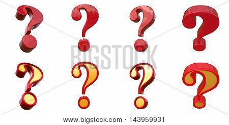 Set Question Mark. Isolated On White Background. 3D Rendering.