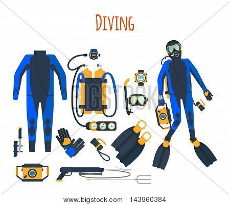 Diving equipment isolated set of vector elements