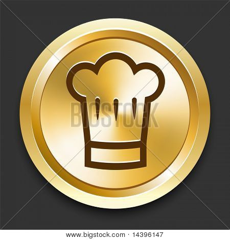 Chef Hat on Golden Internet Button Original Illustration