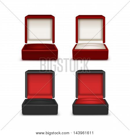 Vector Set of Empty Colored Red Black and White Velvet Opened gift jewelry boxes Close up Isolated on White Background
