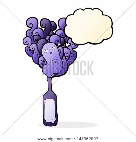 cartoon ghost in bottle with thought bubble