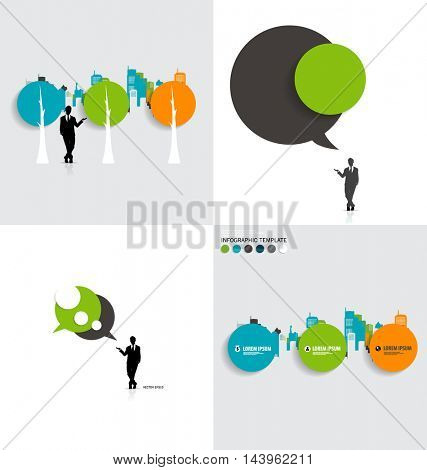 Modern infographics template style. Bubble speech , tree and building background. Vector illustration