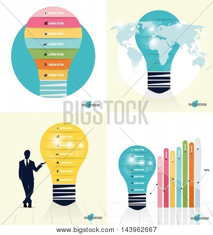 Infographic design template. Businessman showing Light bulb with colorful infographics paper template, vector illustration