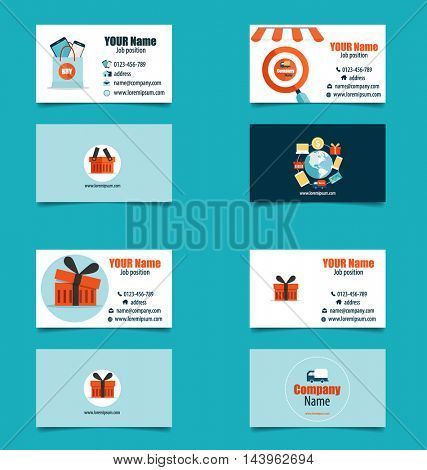Modern business card template with Business concept, Online shopping, Infographics background E-commerce, vector illustration