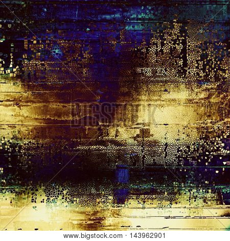 Abstract dirty texture or grungy background. With old style decorative elements and different color patterns: blue; purple (violet); yellow (beige); brown; cyan; black