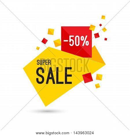 Colorful advertising super sale banner, vector flat illustration