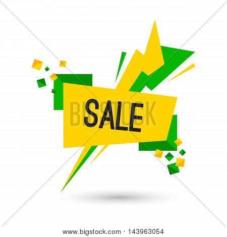 Colorful advertising flashed sale banner, vector flat illustration
