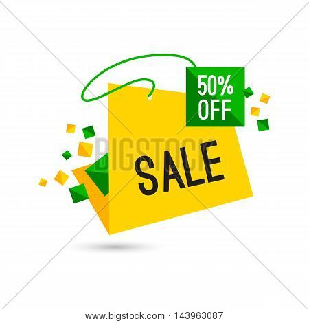 Colorful advertising sale banner. 50 percent off. Vector illustration