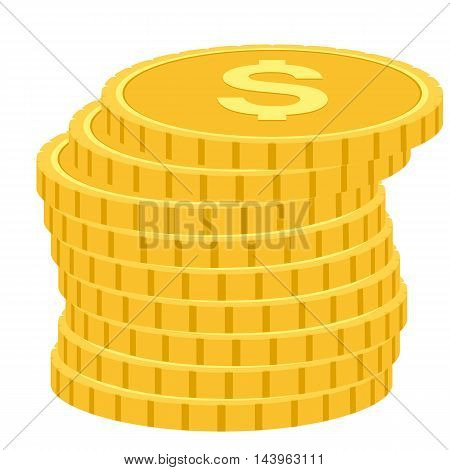 Coins icon vector illustration in a flat style. Stack of coins on a solid background. Gold coins dollar flat vector sign.