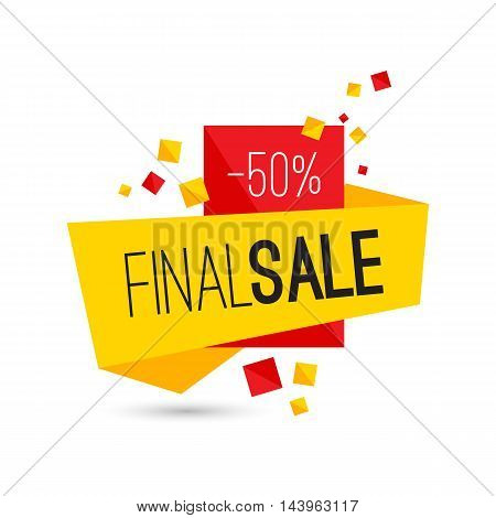 Colorful advertising final sale banner. 50 percent off. Vector illustration.