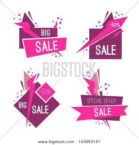 Set of big sale and special sale banners. Vector illustration.