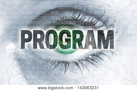 Program eye looks at viewer concept background