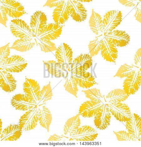 Yellow chestnut leaves imprints seamless pattern on white background