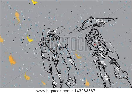 Couple walking with umbrella in a nasty autumn day illustration in doodle style on grey