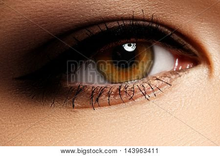Beautiful Macro Shot Of Female Eye With Classic Smoky Makeup Wit