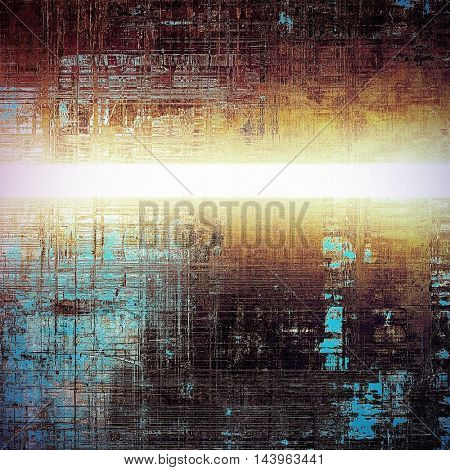 Old grunge vintage background or shabby texture with different color patterns: blue; purple (violet); yellow (beige); brown; white; black