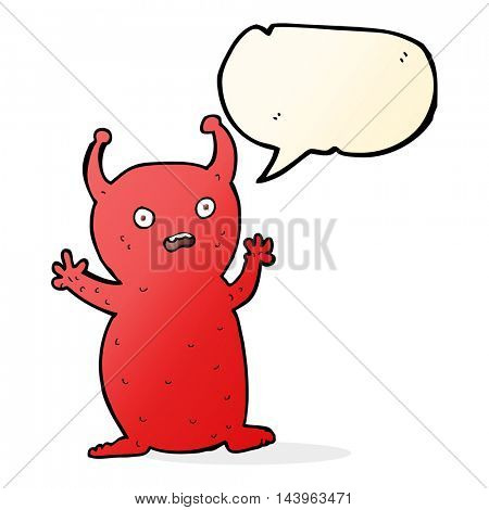 cartoon funny little alien with speech bubble