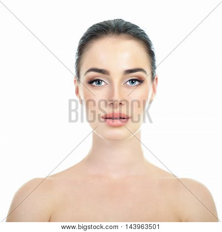 Majestic woman's beauty. Portrait of beautiful girl over white background. Beauty treatment, cosmetology, spa, health care, body and skin care concept.