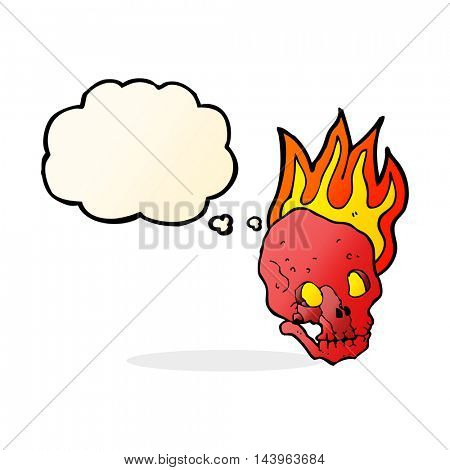 cartoon flaming skull with thought bubble