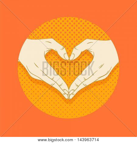 Abstract valentines hearts of human hands. Love concept