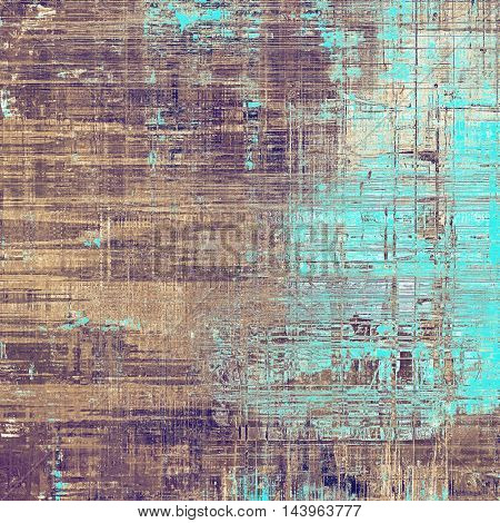 Vintage textured background with copy space. Old style backdrop with different color patterns: gray; blue; purple (violet); yellow (beige); brown; cyan