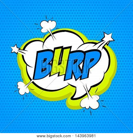 Speech colored cloud bubble Pop-Art Style. Pop art comic blue background space comments burp. Funny balloon comics book template. Vector illustration.