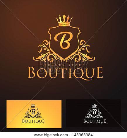 Elegant Luxury B Monogram Logo or Badge template with Royal Crown - Perfect for luxurious branding projects
