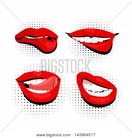 Vector set colored icons sexy womens shiny red lips open mouth bite lip tongue white teeth simple background vintage retro style pop art. Illustration hand drawn