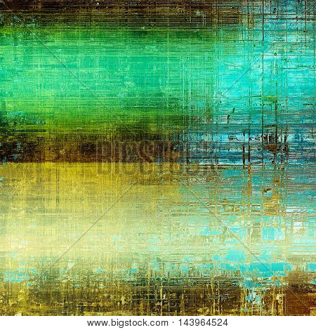 Abstract dirty texture or grungy background. With old style decorative elements and different color patterns: green; blue; yellow (beige); brown; cyan