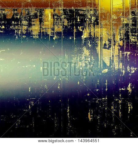 Vintage elegant background, creased grunge backdrop with aged texture and different color patterns: blue; purple (violet); yellow (beige); brown; cyan; black
