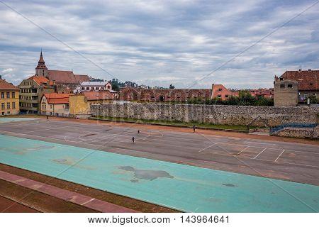 Sport school small stadium in Brasov city in Romania