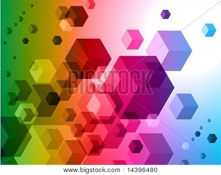 3D Cubes on Colorful Abstract Background Original Illustration