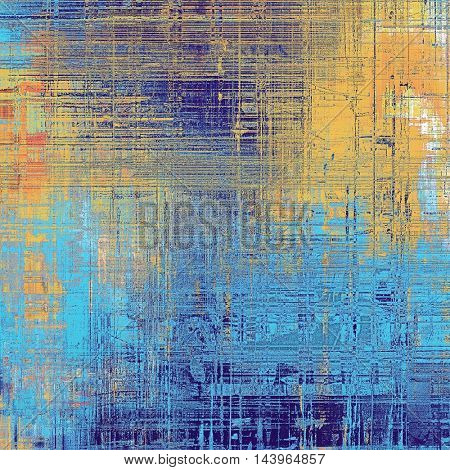Art grungy texture, aged background with retro feeling. With different color patterns: blue; red (orange); yellow (beige); cyan