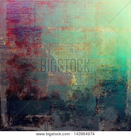 Creative grunge background in vintage style. Faded shabby texture with different color patterns: gray; green; blue; red (orange); purple (violet); brown
