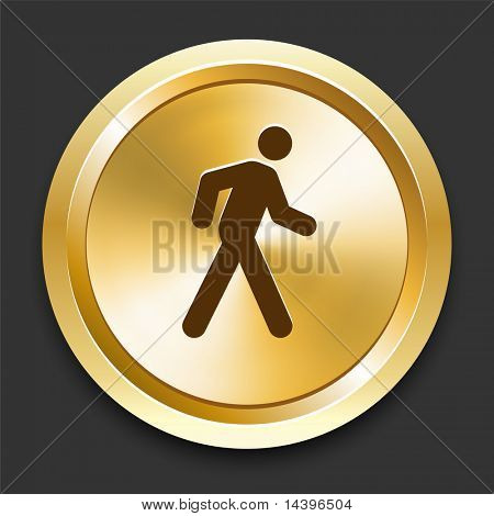 Walking on Golden Internet Button Original Illustration