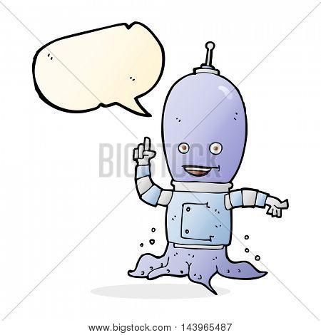 cartoon alien spaceman with speech bubble