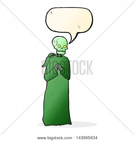 cartoon skeleton in black robe with speech bubble