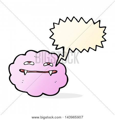cartoon pink fluffy vampire cloud with speech bubble