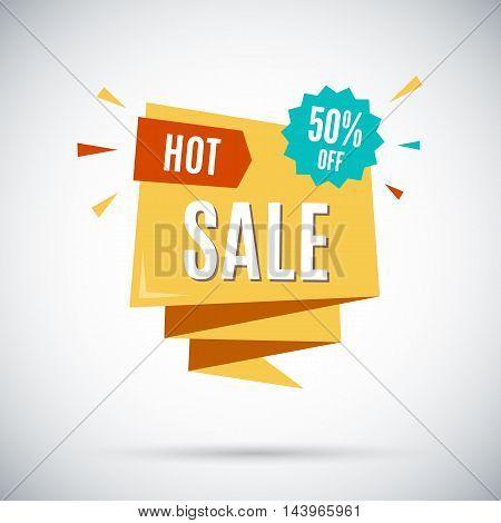 Hot sale. 50 percent off. Vector banner illustration