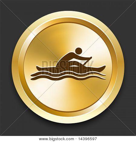 Rowing on Golden Internet Button Original Illustration