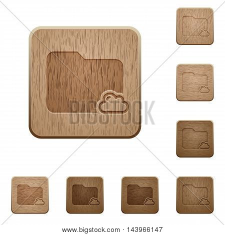 Set of carved wooden cloud folder buttons in 8 variations.