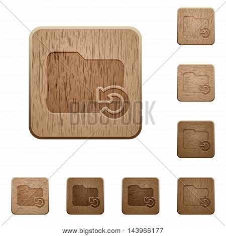 Set of carved wooden Undo folder operation buttons in 8 variations.