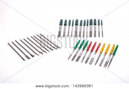Stone Diamond Needle File Grinding Carving Tool Set on White Background