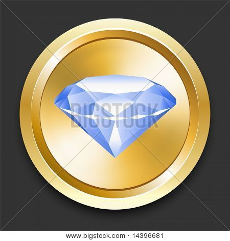 Diamond on Golden Internet Button Original Illustration