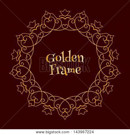 Vector Golden Frame with Hearts for little princess over dark brown background.