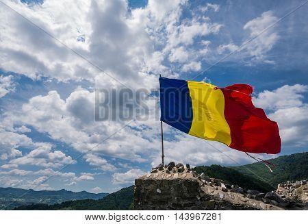 Ruined Poenari Castle on Mount Cetatea in Romania