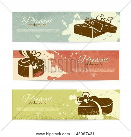 Set of vintage banners with present background with gift box. Vector illustration with splash design