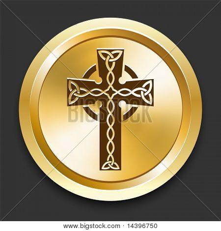 Cross on Golden Internet Button Original Illustration
